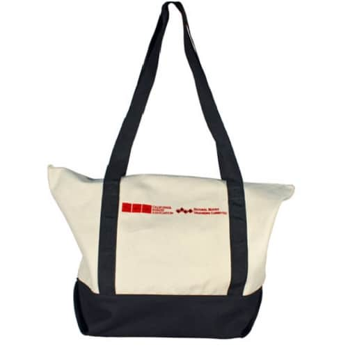 Zippered cotton tote with inside pocket
