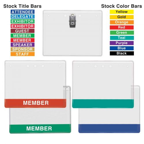Stock Color & Title Bar I.D. Card Holders w/ Clip