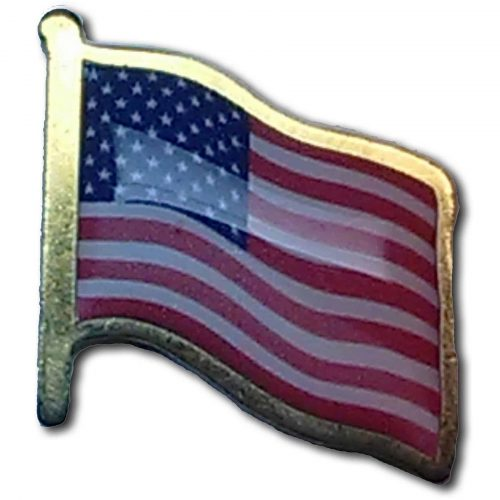 Printed Flag Gold Tone Lapel Pins with Epoxy Done